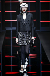 February 21, 2019 - Milan, Italy - Emporio Armani. - Model On Catwalk, Woman Women, Milan Fashion Week 2019 Ready To Wear For Fall Winter, Defile, Fashion Show Runway Collection, Pret A Porter, Modelwear, Modeschau Laufsteg Autumn Herbst Milano Italy.Model, Runway, Catwalk, Fashion Show, Style, Trend, Look, Outfit, (Credit Image: © FashionPPS via ZUMA Wire)