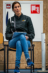 Ass coach Francien Huurman of Talent Team  in action during the first league match in the corona lockdown between Talentteam Papendal vs. Sliedrecht Sport on January 09, 2021 in Ede.