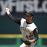 01 June 2007:  Pittsburgh Pirates pitcher Ian Snell (45) pitches in the 6th inning against the Washington Nationals.  Snell struck out seven in 7 innings of work as the Pirates defeated the Nationals 3-2 at RFK Stadium in Washington, D.C.  ****For Editorial Use Only****