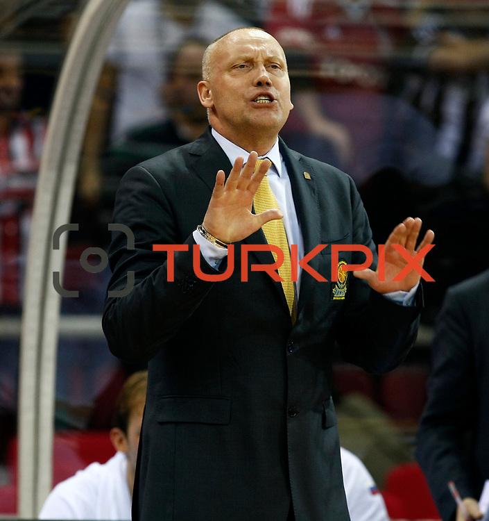 BC Khimki MR's head coach Rimas Kurtinaitis during their Turkish Airlines Euroleague Basketball Top 16 Game 1 match Besiktas between BC Khimki MR at Abdi ipekci Arena in Istanbul, Turkey, Thursday, December 27, 2012. Photo by TURKPIX