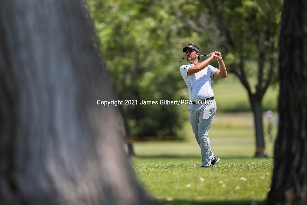 WICHITA, KS - JUNE 20: Curtis Thompson plays his shot from the 9th hole during the final round of the Wichita Open Benefitting KU Wichita Pediatrics at Crestview Country Club on June 20, 2021 in Wichita, Kansas. (Photo by James Gilbert/PGA TOUR via Getty Images)