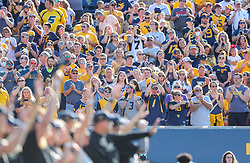 Sep 11, 2021; Morgantown, West Virginia, USA; West Virginia Mountaineers fans give a standing ovation to military veterans honored during the first quarter against the Long Island Sharks at Mountaineer Field at Milan Puskar Stadium. Mandatory Credit: Ben Queen-USA TODAY Sports