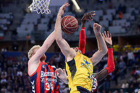 Baskonia's Chase Budinger and Ilimane Diop and Iberostar Tenerife's Tim Abromaitis during Quarter Finals match of 2017 King's Cup at Fernando Buesa Arena in Vitoria, Spain. February 16, 2017. (ALTERPHOTOS/BorjaB.Hojas)