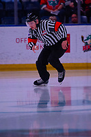 KELOWNA, BC - FEBRUARY 28: Referee Troy Paterson enters the ice at the Kelowna Rockets against the Everett Silvertips at Prospera Place on February 28, 2020 in Kelowna, Canada. (Photo by Marissa Baecker/Shoot the Breeze)