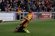 Padraig Amond of Newport county celebrates after he scores his teams 1st goal. EFL Skybet football league two match, Newport county v Yeovil Town at Rodney Parade in Newport, South Wales on Saturday 7th October 2017.<br /> pic by Andrew Orchard,  Andrew Orchard sports photography.