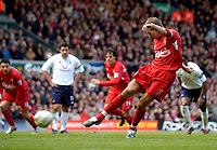 Photo. Jed Wee.<br /> Liverpool v Tottenham Hotspurs, Barclays Premiership, 16/04/2005.<br /> Liverpool's Steven Gerrard scuffs his penalty into the Kop.