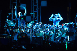 Rhythm Devils, Bill Kreutzmann and Mickey Hart, exuberant end of the show at The Gathering of the Vibes, Seaside Park, Bridgeport CT 31 July 2010