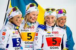 February 3, 2018 - Goms, SWITZERLAND - 180203 Johanna HagstrÅ¡m, Alicia Persson, Tua Dahlgren and Frida Karlsson of Sweden on the podium after the women's 4x3,3 km relay during the FIS Nordic Junior World Ski Championships on February 3, 2018 in Obergoms..Photo: Vegard Wivestad GrÂ¿tt / BILDBYRN / kod VG / 170098 (Credit Image: © Vegard Wivestad Gr¯Tt/Bildbyran via ZUMA Press)