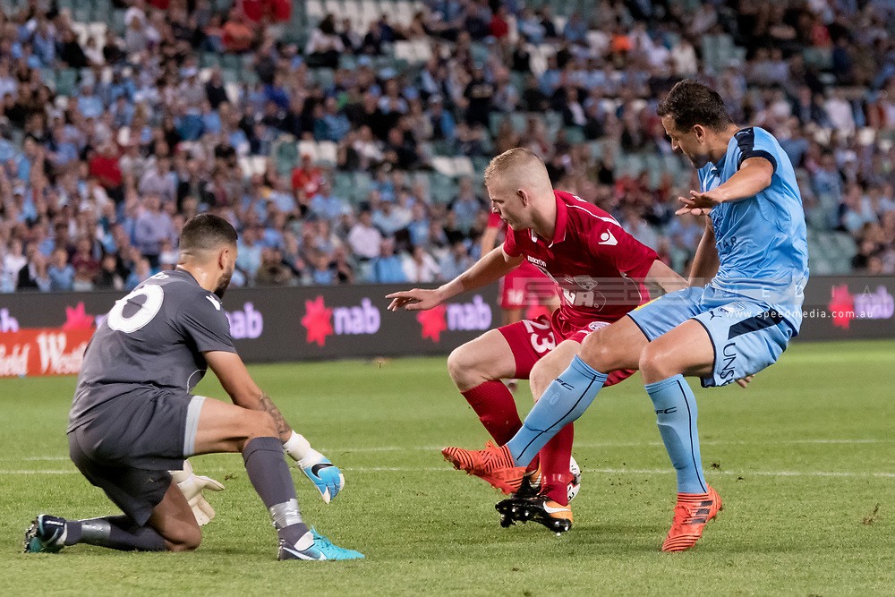 SYDNEY, NSW- NOVEMBER 21: Sydney FC forward Bobo (9) almost gets the ball past Adelaide United goalkeeper Paul Izzo (20) at the FFA Cup Final Soccer between Sydney FC and Adelaide United on November 21, 2017 at Allianz Stadium, Sydney. (Photo by Steven Markham/Icon Sportswire)