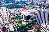 Java, East Java, Surabaya. View over Surabaya center. Surabaya Mall in center of image (from helicopter).
