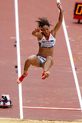 Katarina Johnson-Thompson of Great Britain during the Long Jump event held as part of the Women's Heptathlon on day 2 of the track and field meet at the Olympic Stadium in Olympic Park in London as part of the London 2012 Olympics on the 3rd August 2012..Photo by Ron Gaunt/SPORTZPICS