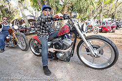 Frank Hilton on his Bill Dodge Blings Cycle custom after the Perewitz Paint Show at the Broken Spoke Saloon during Daytona Beach Bike Week, FL. USA. Wednesday, March 13, 2019. Photography ©2019 Michael Lichter.