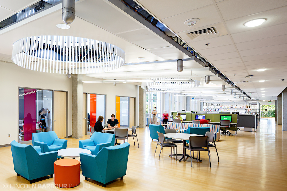 A colorful modern space inside of PCC East Campus. Students use the space as necessary.