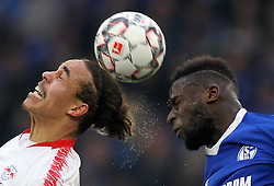 March 16, 2019 - Gelsenkirchen, Germany - Salif Sane of Schalke 04, right, and Yussuf Poulsen of RB Leipzig are seen in action during the German Bundesliga soccer match between FC Schalke 04 and RB Leipzig in Gelsenkirchen. (Credit Image: © Osama Faisal/SOPA Images via ZUMA Wire)