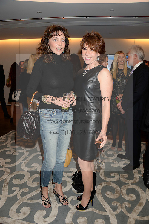 Left to right, MARIE HELVIN and KATHY LETTE at a reception to launch the range of Dr Lancer beauty products held at The Penthouse, Harrods, Knightsbridge, London on 16th September 2013.