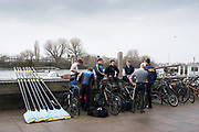 Hammersmith. London. United Kingdom,  Nottingham RC crew before the 2018 Men's Head of the River Race.  location Barnes Bridge, Championship Course, Putney to Mortlake. River Thames, <br /> <br /> Sunday   11/03/2018<br /> <br /> [Mandatory Credit:Peter SPURRIER Intersport Images]<br /> <br /> LEICA CAMERA AG  LEICA Q (Typ 116)  1/200 sec. 28 mm f.8 200 ISO.  42.5MB