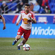 Felipe Martins, New York Red Bulls, challenged by Chris Pontius, D.C. United during the New York Red Bulls Vs D.C. United Major League Soccer regular season match at Red Bull Arena, Harrison, New Jersey. USA. 22nd March 2015. Photo Tim Clayton