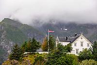 Norway, Lofoten. Kabelvåg village in Vågan municipality on the southern shore of Austvågøy island.