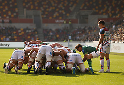 London Irish's Nick Phipps (second right) puts the ball in for a scrum during the Gallagher Premiership match at the Brentford Community Stadium, London. Picture date: Saturday October 9, 2021.