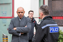 """© Licensed to London News Pictures;22/03/2021; Bristol, UK. Elected Mayor of Bristol MARVIN REES talks to Avon & Somerset Chief Constable ANDY MARSH outside Bridewell Police Station the morning after a """"Kill the Bill"""" protest against the Police, Crime, Sentencing and Courts Bill when a police car and a police van were set on fire as police clashed with protesters, and windows in the police station were broken and graffiti written on the walls. The Police, Crime, Sentencing and Courts Bill proposes new restrictions on protests. Photo credit: Simon Chapman/LNP."""