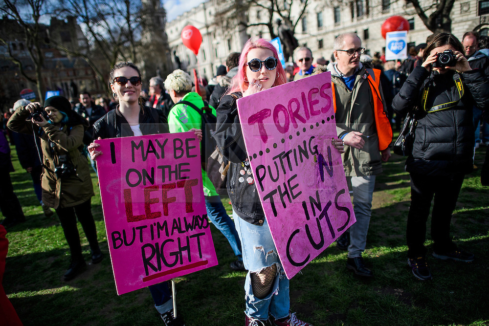 © Licensed to London News Pictures. 04/03/2017. London, UK. Thousands of people attend a demonstration organised by People's Assembly Against Austerity, calling for For a fully funded, publicly owned, NHS and social care service. Labour leader Jeremy Corbyn and Unite general secretary Len McCluskey are expected to speak at the London event, with similar marches taking place across the UK. Photo credit: Ben Cawthra/LNP