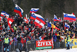 Fans of Slovenia and Austria at Flying Hill Team in 3rd day of 32nd World Cup Competition of FIS World Cup Ski Jumping Final in Planica, Slovenia, on March 21, 2009. (Photo by Vid Ponikvar / Sportida)