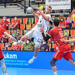 Leipzigs Meyer-Siebert Julius gegen Ludwigshafens Azat Valiullin (Nr.55)  beim Spiel in der Handball Bundesliga, Die Eulen Ludwigshafen - SC DHfK Leipzig.<br /> <br /> Foto © PIX-Sportfotos *** Foto ist honorarpflichtig! *** Auf Anfrage in hoeherer Qualitaet/Aufloesung. Belegexemplar erbeten. Veroeffentlichung ausschliesslich fuer journalistisch-publizistische Zwecke. For editorial use only.