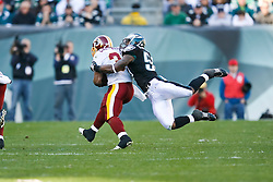 Philadelphia Eagles linebacker Will Witherspoon #50 makes a tackle during the NFL game between the Washington Redskins and the Philadelphia Eagles on November 29th 2009. The Eagles won 27-24 at Lincoln Financial Field in Philadelphia, Pennsylvania. (Photo By Brian Garfinkel)