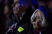 Remain protesters pro-EU gather in Westminster before the result of MPs Meaningfull Brexit vote which eventually brought about a massive defeat for Prime Minister Theresa Mays Conservative government, on 15th January 2019, in Westminster, London, England.