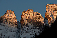 The Wufangfu Peaks on sunset at 5470 m, in the Meili Snow Mountain National park, Yunnan China.