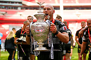 Hull FC loose forward and captain Gareth Ellis (13) with the trophy during the Ladbrokes Challenge Cup Final 2017 match between Hull RFC and Wigan Warriors at Wembley Stadium, London, England on 26 August 2017. Photo by Simon Davies.