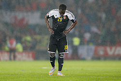 Romelu Lukaku of Belgium (Everton) looks dejected after Wales win the match 1-0 to top their UEFA2016 Qualifying Group - Photo mandatory by-line: Rogan Thomson/JMP - 07966 386802 - 12/06/2015 - SPORT - FOOTBALL - Cardiff, Wales - Cardiff City Stadium - Wales v Belgium - EURO 2016 Qualifier.