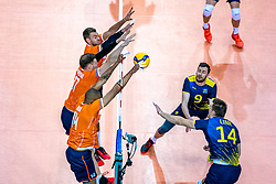 Nimir Abdelaziz of Netherlands, Michael Parkinson of Netherlands, Gijs Jorna of Netherlands, David Pettersson of Sweden, Jacob Link of Sweden in action during the CEV Eurovolley 2021 Qualifiers between Sweden and Netherlands at Topsporthall Omnisport on May 14, 2021 in Apeldoorn, Netherlands