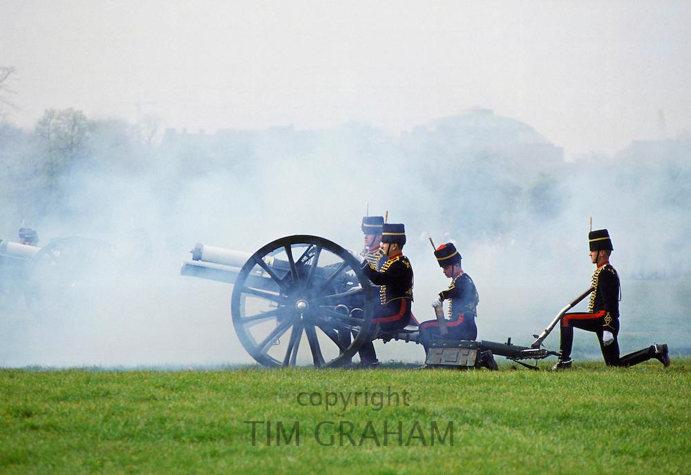 Kings Troop traditional 21 Gun Salute in Hyde Park