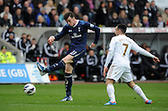 Gareth Bale of Tottenham has a shot at goal. Barclays Premier League, Swansea city v Tottenham Hotspur at the Liberty Stadium in Swansea, South Wales on Saturday 30th March 2013. pic by Andrew Orchard, Andrew Orchard sports photography,