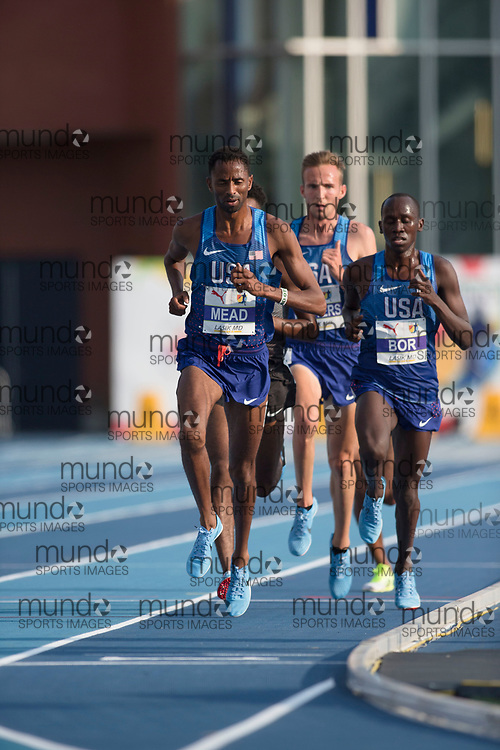 Toronto, ON -- 11 August 2018: Left to right, Hassan Mead (USA -- gold) and Emmanuel Bor (USA -- fourth), 5000m at the 2018 North America, Central America, and Caribbean Athletics Association (NACAC) Track and Field Championships held at Varsity Stadium, Toronto, Canada. (Photo by Sean Burges / Mundo Sport Images).