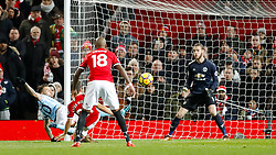 Manchester City's Nicolas Otamendi scores his side's second goal of the game during the Premier League match at Old Trafford, Manchester.