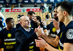 Matej Avanzo and Zan Mark Sisko of Sixt Primorska celebrate after winning during basketball match between KK Sixt Primorska and KK Hopsi Polzela in final of Spar Cup 2018/19, on February 17, 2019 in Arena Bonifika, Koper / Capodistria, Slovenia. KK Sixt Primorska became Slovenian Cup Champion 2019. Photo by Vid Ponikvar / Sportida