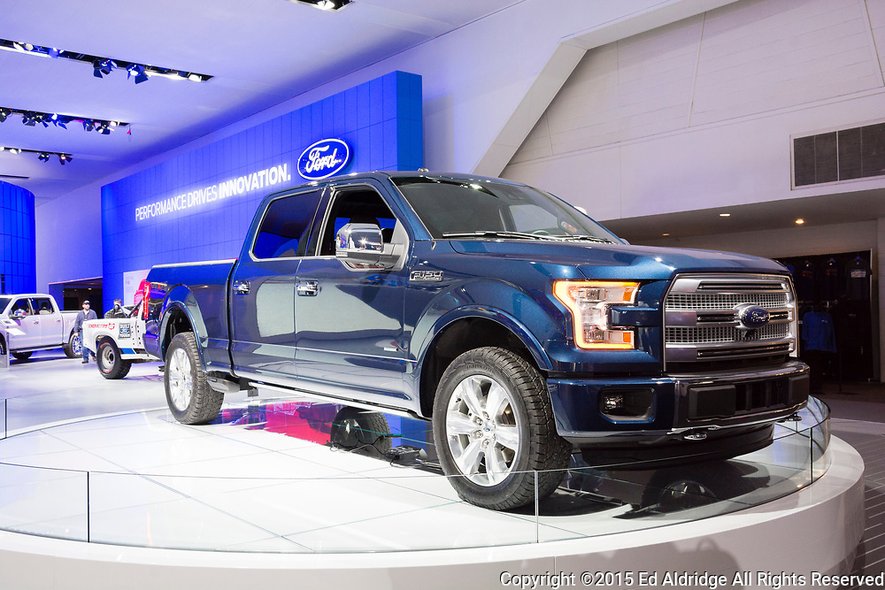 DETROIT, MI, USA - JANUARY 12, 2015: Ford F150 pickup on display during the 2015 Detroit International Auto Show at the COBO Center in downtown Detroit.