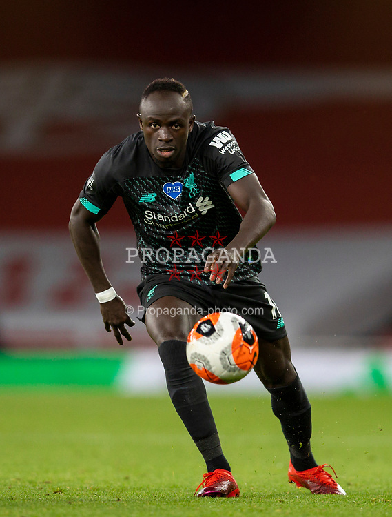 LONDON, ENGLAND - Tuesday, July 14, 2020: Liverpool's Sadio Mané during the FA Premier League match between Arsenal FC and Liverpool FC at the Emirates Stadium. The game was played behind closed doors due to the UK government's social distancing laws during the Coronavirus COVID-19 Pandemic. (Pic by David Rawcliffe/Propaganda)