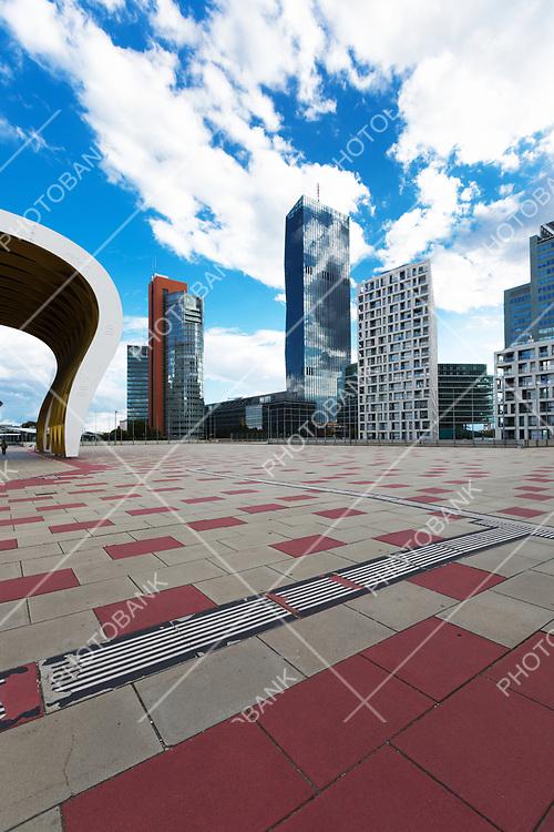 Skyline in modern area in Wien
