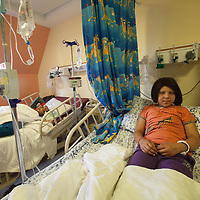 Hala Mustafa Hajj, 9, from Ramallah, in the Paediatric Chemotherapy Department of the Augusta Victoria Hospital in Jerusalem. The Augusta Victoria Hospital is located on the southern side of Mount of Olives in East Jerusalem and is run by the Lutheran World Federation, LWF.