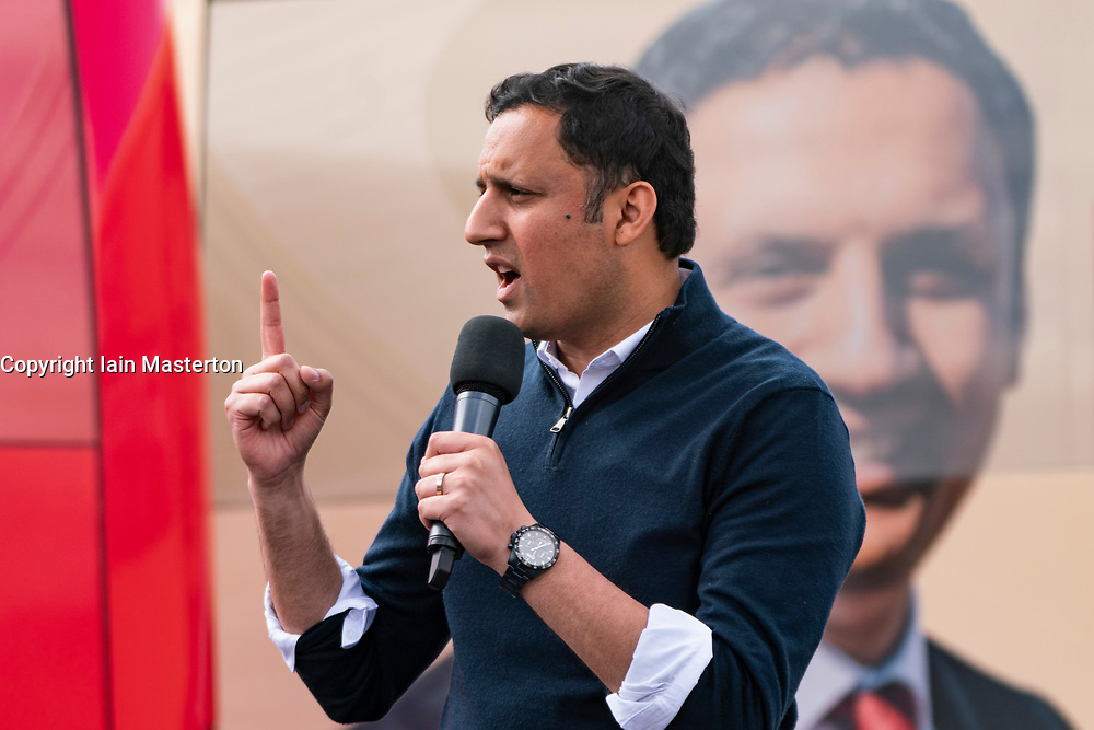 Glasgow, Scotland, UK. 5 May 2021. Scottish Labour Leader Anas Sarwar and former Prime Minister Gordon Brown appear at an eve of polls drive-in campaign rally in Glasgow today. Anas Sarwar makes speech. . Iain Masterton/Alamy Live News