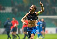 05/11/15 UEFA EUROPA LEAGUE GROUP STAGE<br /> CELTIC v MOLDE FK<br /> CELTIC PARK - GLASGOW<br /> Molde captain Daniel Hestad celebrates at full-time