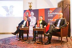 Metod Ropret from OZS, representative of the main sponsor Petrol and Zoran Jankovic Mayor at Count down ceremony to CEV Euro Volley 2019 in Ljubljana, Slovenia.