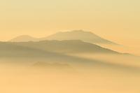 A golden sunrise on the island of Java near Mount Bromo.
