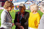 First Minister Nicola Sturgeon pictured with Rose Reilly,Jean Stewart & Linda Kidd following their Scotland cap presentation ahead of  during a Scotland Cap presentation ahead of the International Friendly match between Scotland Women and Jamaica Women at Hampden Park, Glasgow, United Kingdom on 28 May 2019.