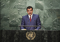 UNITED NATIONS, Sept. 20, 2016 (Xinhua) -- Emir of Qatar Sheikh Tamim bin Hamad Al-Thani speaks at the 71st session of the United Nations General Assembly at the UN headquarters in New York, on Sept. 20, 2016. The 71st session of the UN General Assembly on Tuesday opened its annual high-level General Debate at the UN headquarters in New York, with a focus on pushing for the world's sustainable development. (Xinhua/Wang Ying) (Credit Image: © Wang Ying/Xinhua via ZUMA Wire)