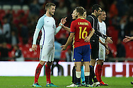 Eric Dier of England argues with Inigo Martinez of Spain and Herrera of Spain after the final whistle claiming Ander Herrera of Spain elbowed him in the face.  England v Spain, Football international friendly at Wembley Stadium in London on Tuesday 15th November 2016.<br /> pic by John Patrick Fletcher, Andrew Orchard sports photography.