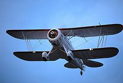 Waco biplane on takeoff